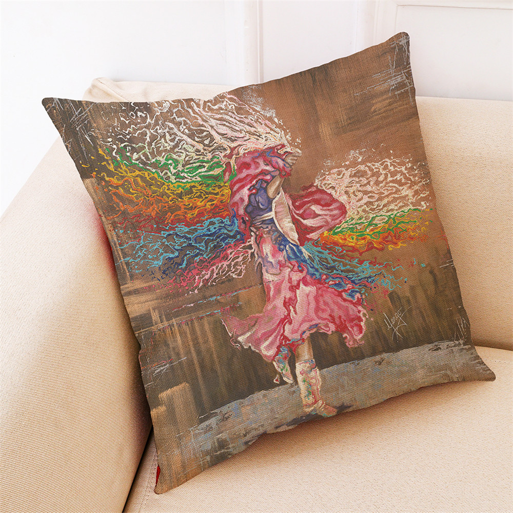 Image 4 - Vintage Multicolor Watercolor painting Home Decoration Cushion Cover  45 * 45cm Sofa Waist Throw Pillow Covers as gift for send-in Cushion Cover from Home & Garden