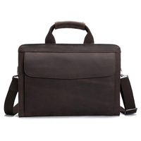 High Grade Vintage Crazy Horse Leather Men Handbag 14 Inch Laptop Bag Pure Natural Genuine Leather