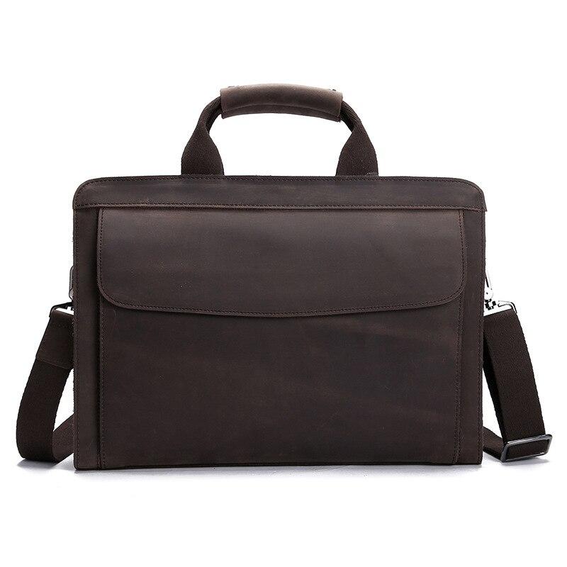 High Grade Vintage Crazy Horse Leather Men Handbag 14 Inch Laptop Bag Pure Natural Genuine Leather Men Business Briefcase