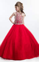 Красные, Белые Платья с цветочным узором для девочек на свадьбу, украшенные бисером, с кристаллами, детское вечернее платье 2019, выпускные пл