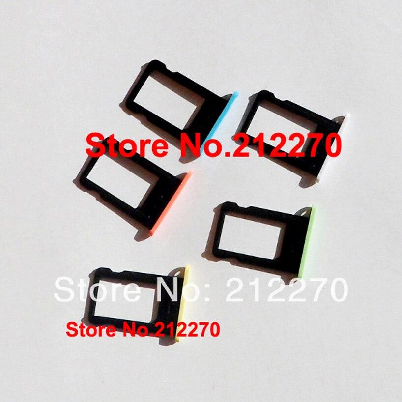 imágenes para 100 unids/lote original nueva tarjeta sim holder bandeja de la ranura pieza de recambio para iphone 5c 5 color en la acción al por mayor