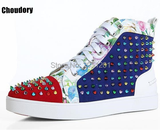 2017 Brand Designers Gold Spikes Studded Rivets High Top Men Red Black Flats Casual Shoes Men Lace Up Trainers Shoes new fashion high top casual shoes for men pu leather lace up red white black color mens casual shoes men high top shoes red