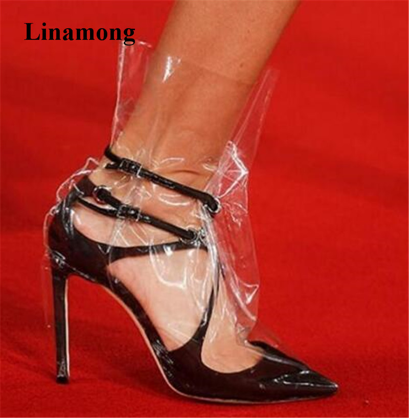 2018 Newest Women Pointed Toe Strap Cross Transparent PVC Pumps Pink Black White Charming High Heels Formal Dress Shoes