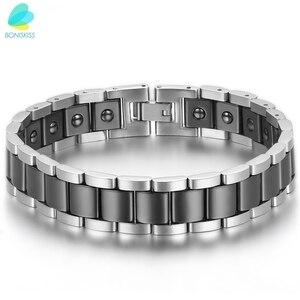 Image 3 - BONISKISS pulseras biomagnéticas de cerámica de energía de salud grande pesado para hombres de acero inoxidable (negro/oro/blanco)