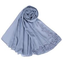 bubbles chiffon muslim head scarfs nail pearl neck scarf womens hijabs shawls blanket fashion accessories girls