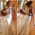 Sereia vestidos de Casamento Sexy O-Neck Lace Sheer Vestidos de Casamento Top de Cetim Vestidos De Novia Vintage 2016 Tribunal Trem New