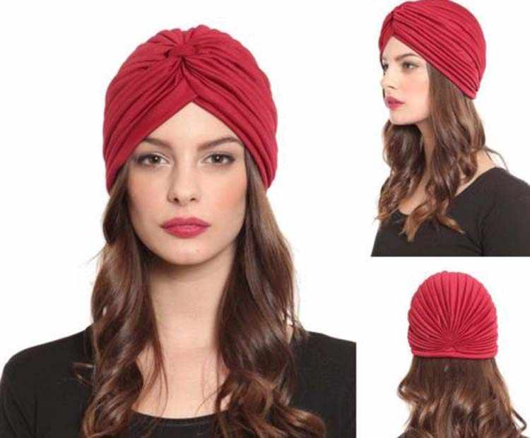 Plain solid Turban Head Wrap Band หมวก Chemo Bandana หมวกผมหลายสี turbante mujer
