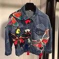 Moda casual applique bordado borboleta flor denim jeans casaco outerwear mulheres senhora projeto curto fina jaqueta curta WC1446