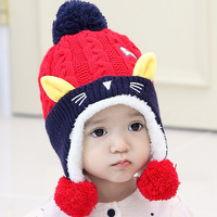 Baby Hats Fashion Knitted Cap Cat Plus Plush Protect Ears Keep Warm Hat Infant Autumn Winter