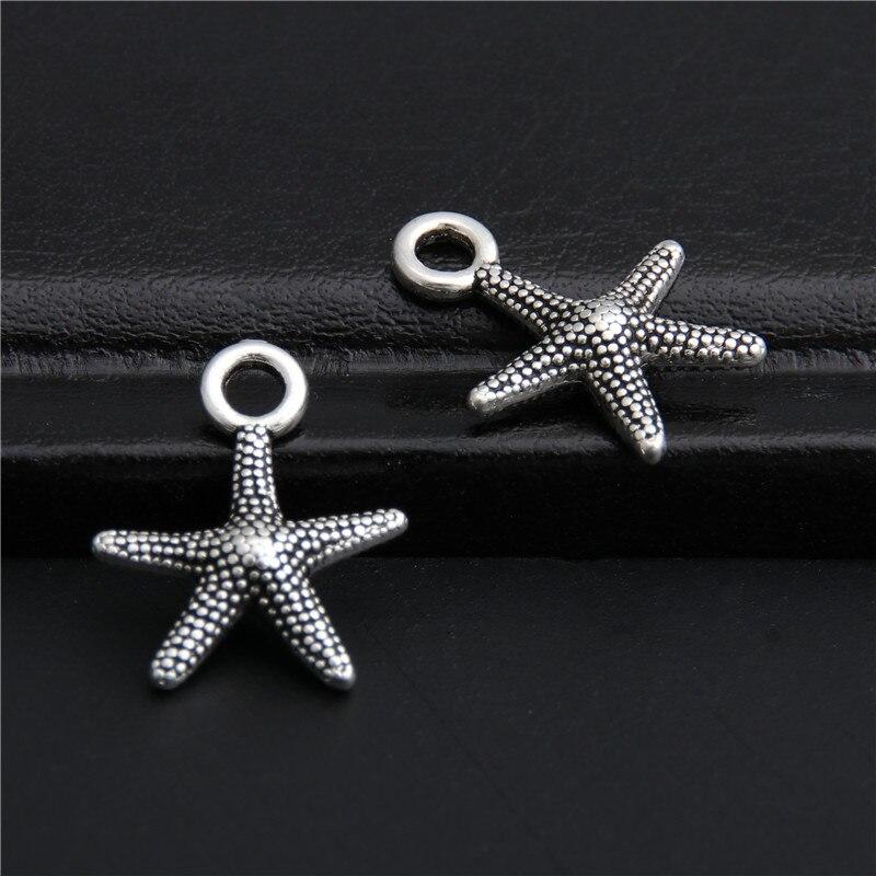 50 pçs cor prata estrela do mar encantos pingente para colar pulseiras jóias fazendo diy artesanal artesanato a2775