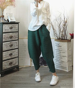 Image 4 - LANMREM 2020 autumn autumn New Pattern Elastic Waist Pleated Ankle Length Solid Color Loose Ladies Fashion Harem Pants BA696