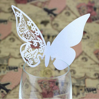50pcs/lot White Butterfly Table Mark Wine Glass Name Place Card For Wedding Party Bar Decoration DIY Accessories