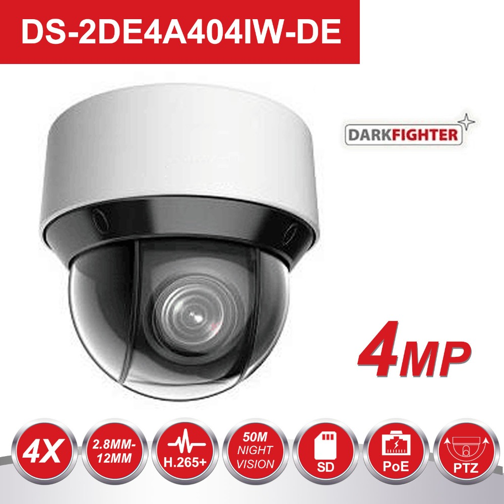 HIK Original Escuro Lutador Video Surveillance Camera DS-2DE4A404IW-DE 4MP 4X 2.8-12mm Dome PTZ Câmera IP H.265 + digital Desembaçamento
