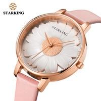 STARKING Watch New Arrival 3D Chrysanthemum Dial Dress Women Watch Stainless Steel Watch Ladies Wrist Watches Vintage Timepieces