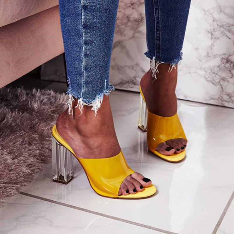 2019 夏の女性の水晶 11 センチメートルハイヒールミュール厚さの透明なブロックハイヒールスライド女性透明ハイヒールピープトウシューズスリッパ靴