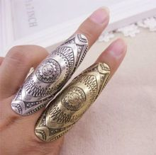 2017 new Gypsy Vintage Punk Rings Unique Carved Antique Silver Totem Lucky Ring for Women Boho Beach bohemian joint ring Jewelry