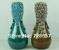 Żywe i Atrakcyjne Nowoczesne Moda Proste Gospodarstw Domowych Dekoracyjne Ceramiki i Porcelany Szkliwione Wazon z Handmade Kwiat
