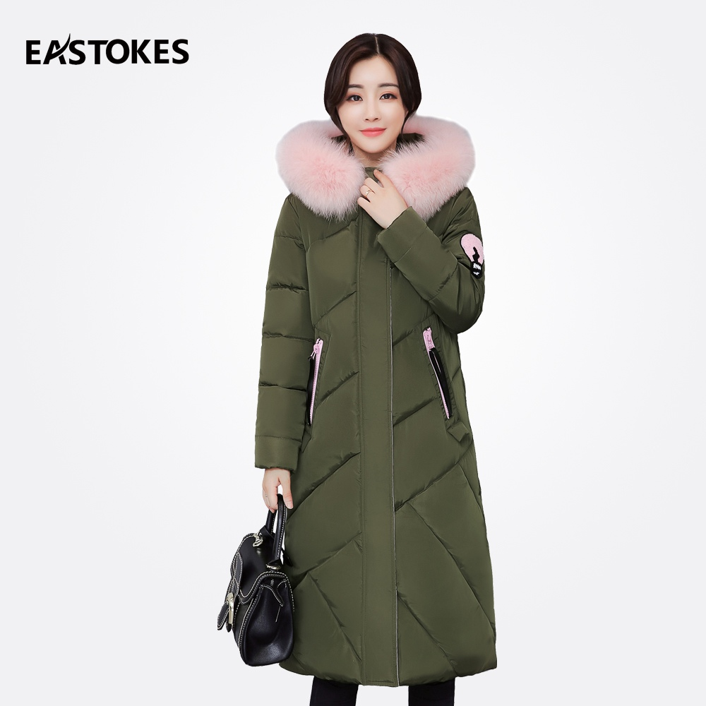 2017 Winter Large Fur Collar Women Coats With Cartoon Embroidery Ladies Hooded Jackets Female Cotton Down Parkas Outerwear