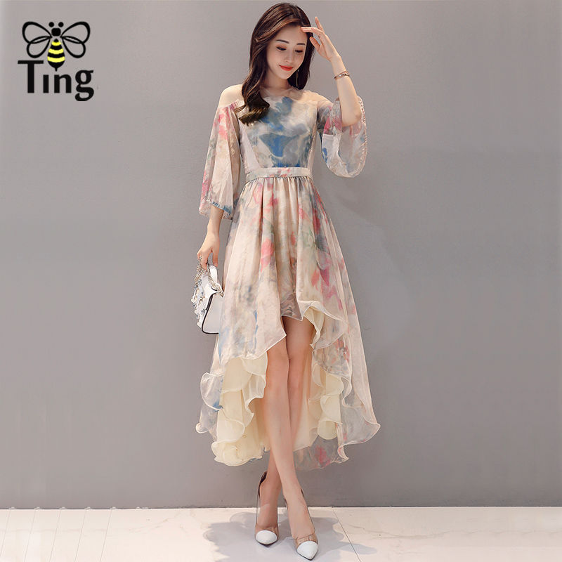 Tingfly Elegant Painting Print Floral Party Dresses Vintage Women  Asymmetrical Ball Gown Swing Midi Dress Summer Vestidos-in Dresses from Women s  Clothing ... 537ed50fb0e2