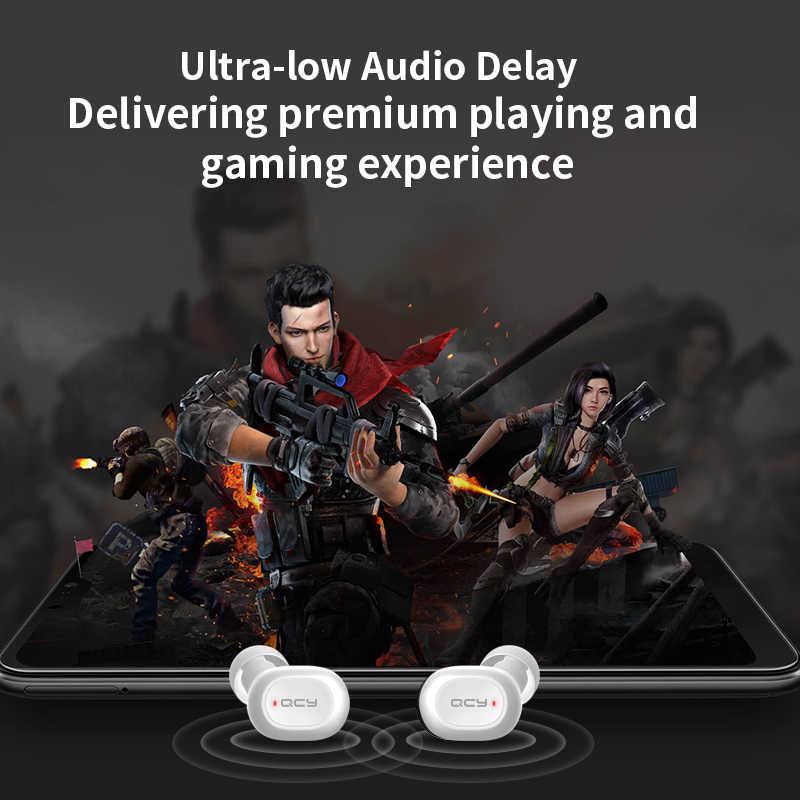 QCY QS2 TWS słuchawki Bluetooth V5.0 3D Stereo sport bezprzewodowe słuchawki z podwójny mikrofon, automatyczne połączenie