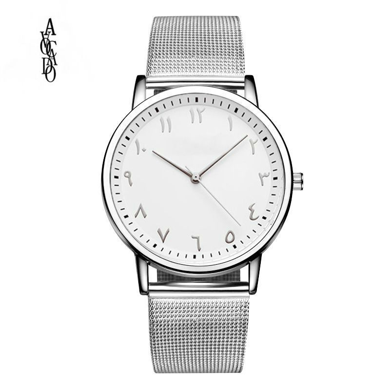 AGUACATE Silver Mesh Watch Unique Arabic Numbers Watches Casual Women - Relojes para mujeres