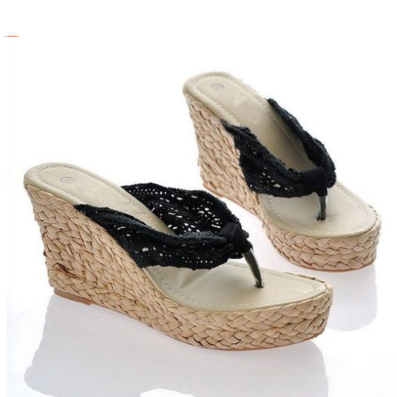 d9085d256043 Fashion Women Summer Soft Platform Sandals High Heel Wedge Slippers Lace  Straw Shoes Flip Flops Loafer Sandalias-in Slippers from Shoes on  Aliexpress.com ...