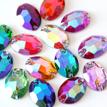 Oval Warna-warni Resin Menjahit Berlian Imitasi Pipih Jahit Berlian Imitasi Resin Crystal Sew-On Rhinestones untuk Pernikahan Gaun B3802(China)