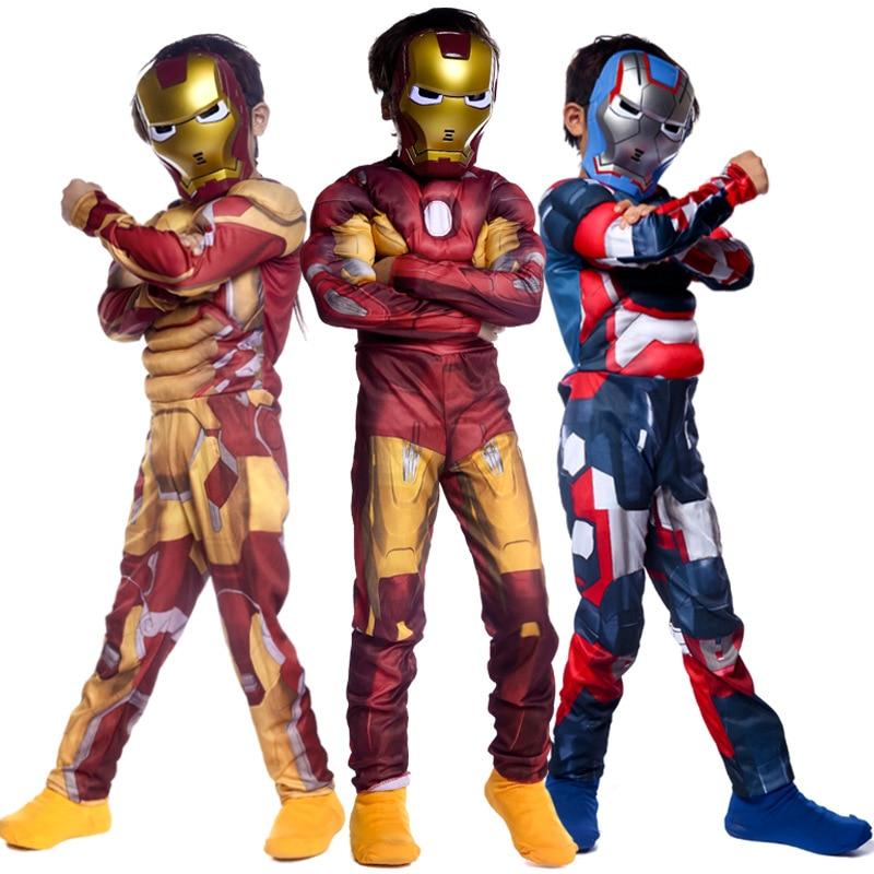 Boy's Halloween The Avengers Thor Iron Man Muscle Costume Book Week Children's Day Kid Superhero Fantasia Jumpsuit