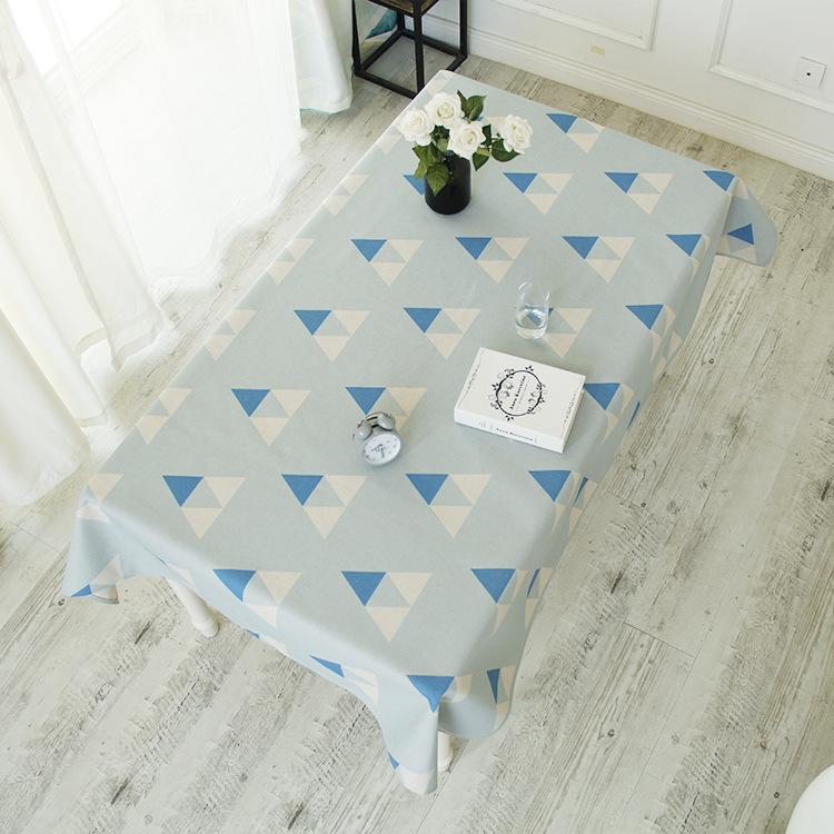 blue and white geometric fresh table cloth, restaurant heat insulation tablecloth, living room dust-proof tablecloth. ...
