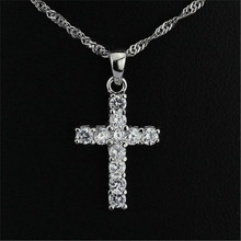 цена на 925 cross silver AAA Rhinestone Cross Pendant Gold Silver Alloy Material Iced out Cross Pendants Necklace Chain Fashion  Jewelry