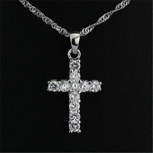 925 silver Women AAA Rhinestone Cross Pendant Gold Silver Alloy Material Iced out Cross Pendants Necklace Chain Fashion Jewelry(China)
