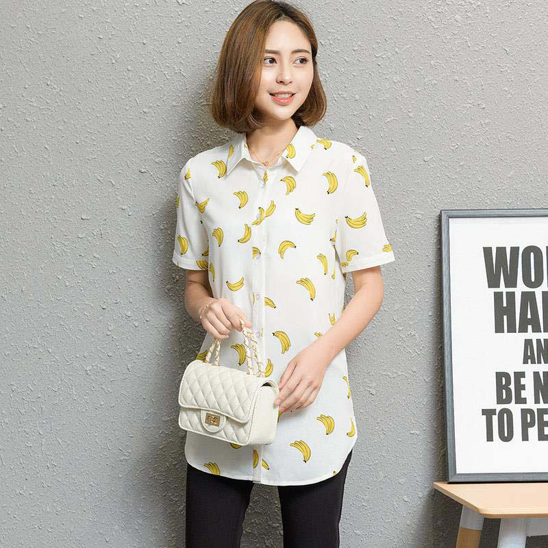 Long Style Women Spring Summer Chiffon   Blouses     Shirts   Lady Casual Banana Stars Birds Printed Blousas Tops Feminina DF1690