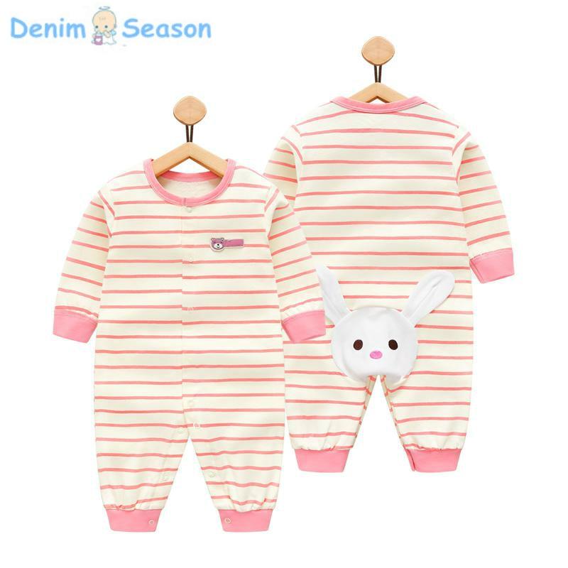 DenimSeason 2018 Summer Newborn Baby Clothes Set Cotton Baby Girl Rompers Baby Onesie Romper Newborn Clothing Baby Jumpsuit Pink