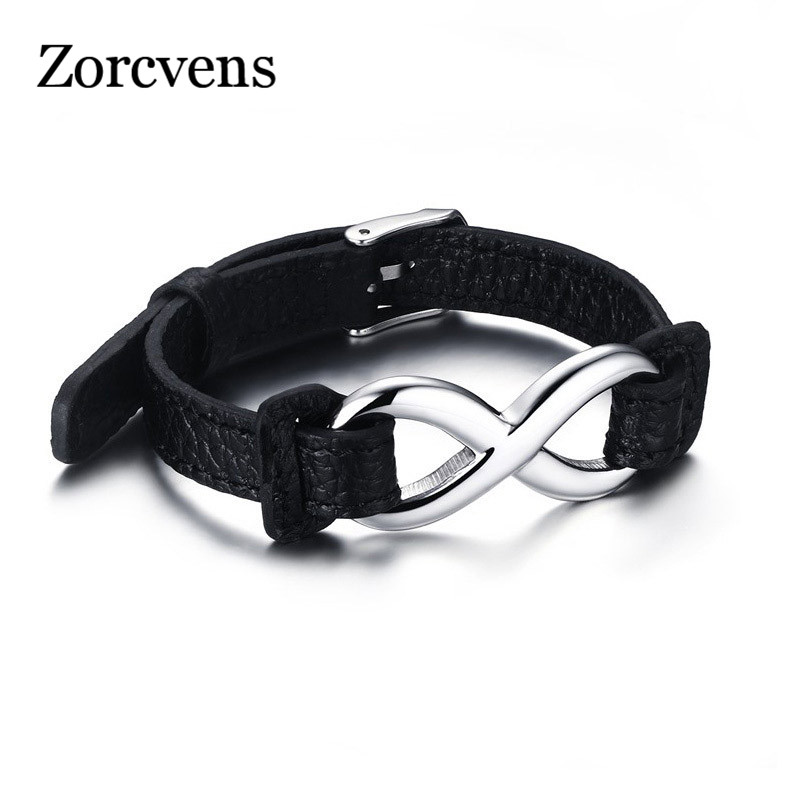 ZORCVENS Black Genuine Leather Infinity Sign Wrap Wrist Band Rope Bracelets Men Jewelry Size Adjustable