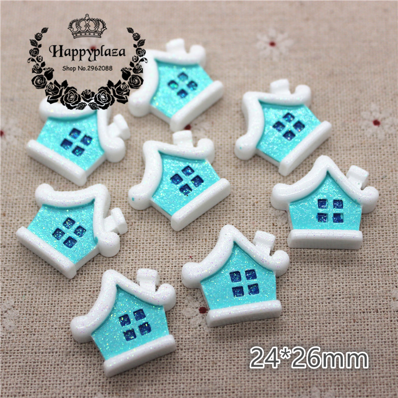 10pcs Resin Flatback Cabochon Christmas Cottage Miniature Art Supply Decoration Charm Craft,24*26mm