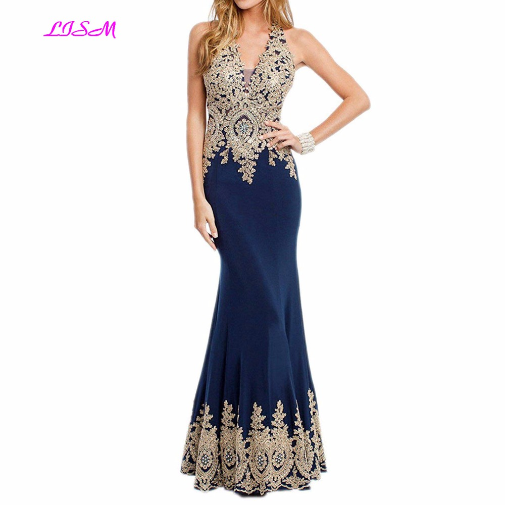 2018 New Arrival Halter Mermaid Long Satin Prom Gown Sleeveless Formal Dress with Gold Lace Applique Sexy Backless Party Dresses