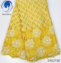 Beautifical Gold cord lace fabric latest design nigerian guipure with embroidery beads african 23G27