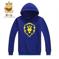 Wow hoodies costume game fans hoodies lion head emblem high quality cotton hoodies AC183