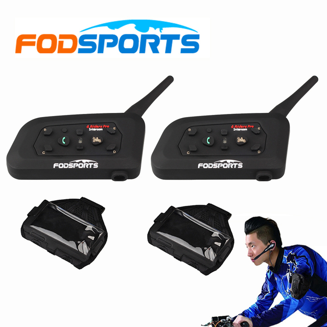 2 pcs V6 Pro BT Interphone Bluetooth Headset Intercom Full Duplex ...