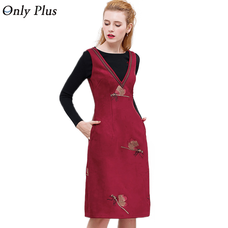 ONLY PLUS High Quality Flannel Dress Embroidered Wine Red Sleeveless V Neck Women Dress Sweet Casual