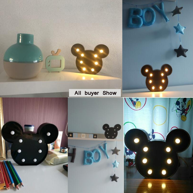3D Romantic Lamp LED Night Light Mickey Style Lamp Marquee Home Christmas AA Battery LED Nightlight For Home Decoration Lighting