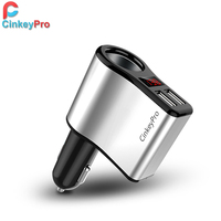 CinkeyPro Car Charger For iPhone Samsung 2-Port USB Car-Charger LED Screen Cigarette Lighter 3.1A Charging Mobile Phone Adapter
