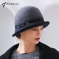 Fibonacci Female Irregular Brim Fedoras Gradient Color Brand Wool Felt Hat Dome Autumn Winter Trilby Bowler Women Fedora Hats