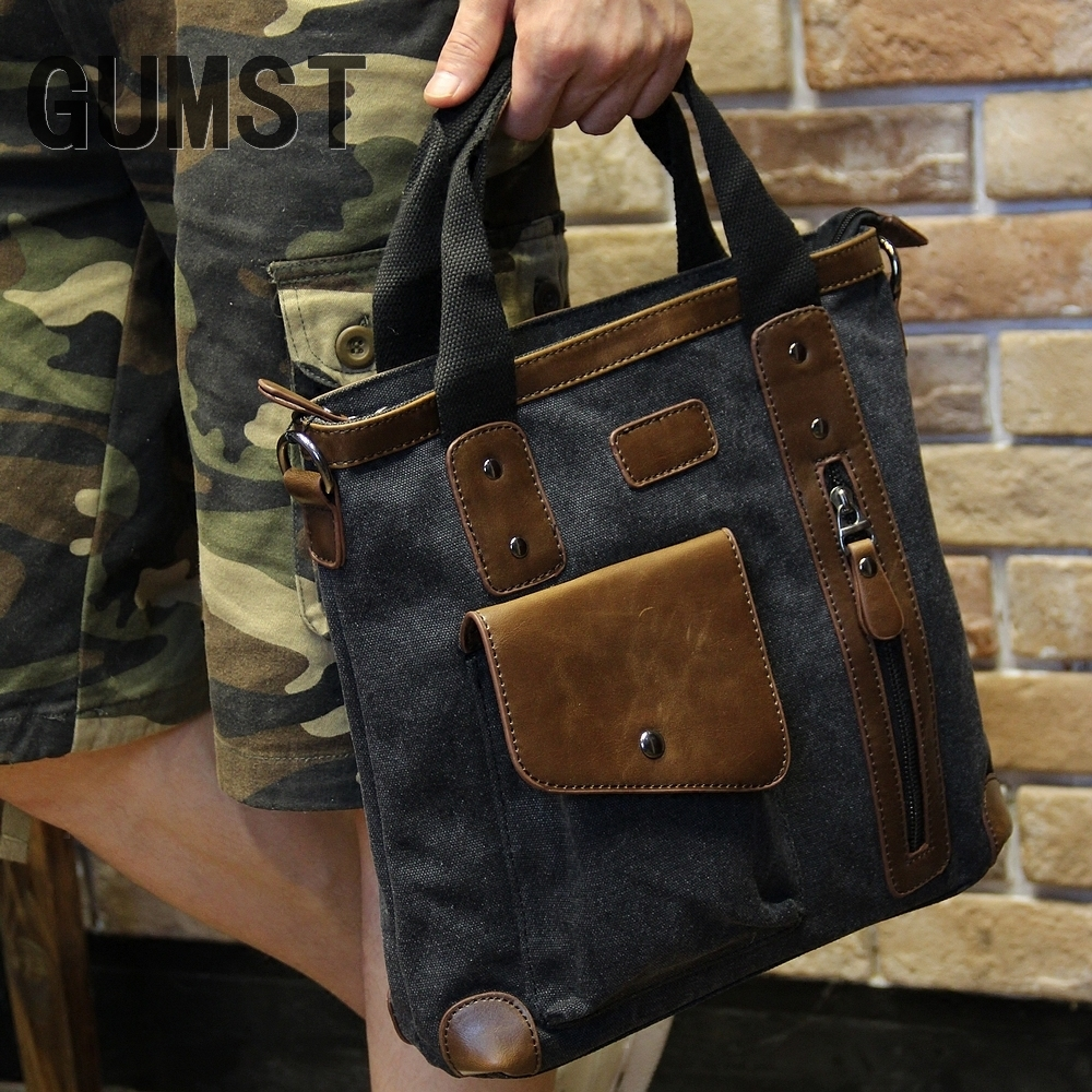 Men's bags Brand Vintage Men's Messenger Bags Canvas Shoulder HandBag Fashion Men Business Crossbody Bag Casual Travel Handbag 15