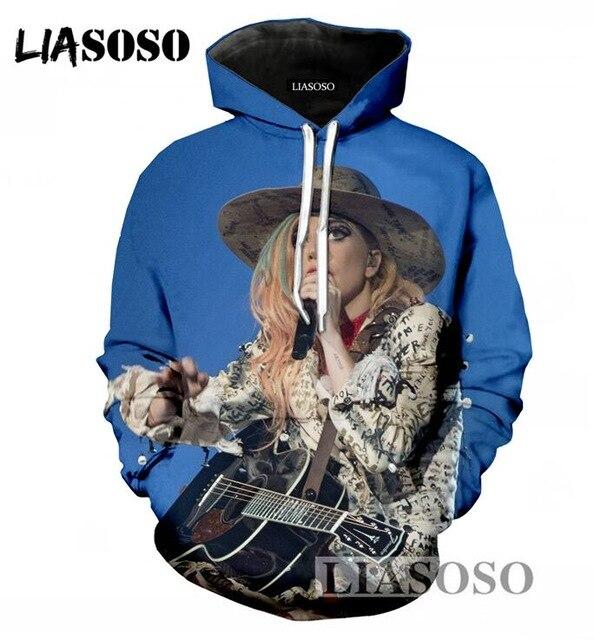 LIASOSO Men/Women Spring And Autumn Hoodies 3D Print Singer Lady Gaga Casual Pullover Harajuku Hooded Sweatshirt DropShipping