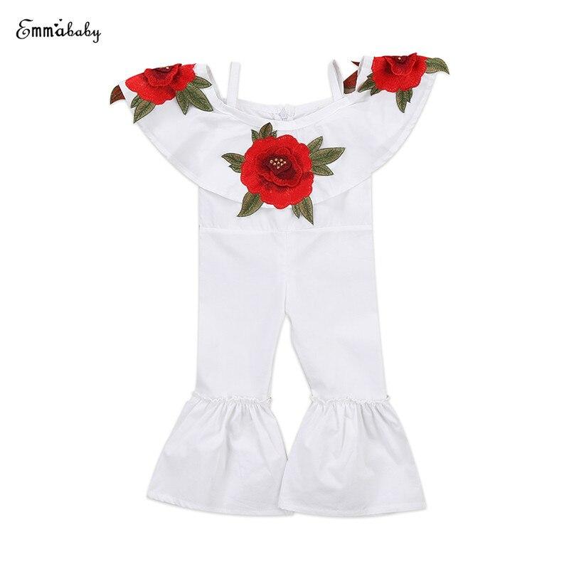 Вышивка розы Новорожденный Дети для маленьких девочек с открытыми плечами накидка воротник белый комбинезон принцессы ребенок расклешенн...