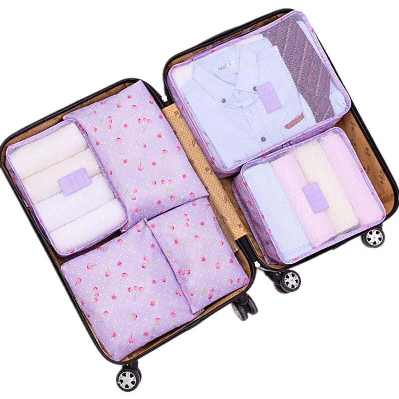 6pcs/Set Brand Travel Storage Bag Set For Clothes Tidy Organizer Pouch Suitcase Home Closet Divider container Organiser