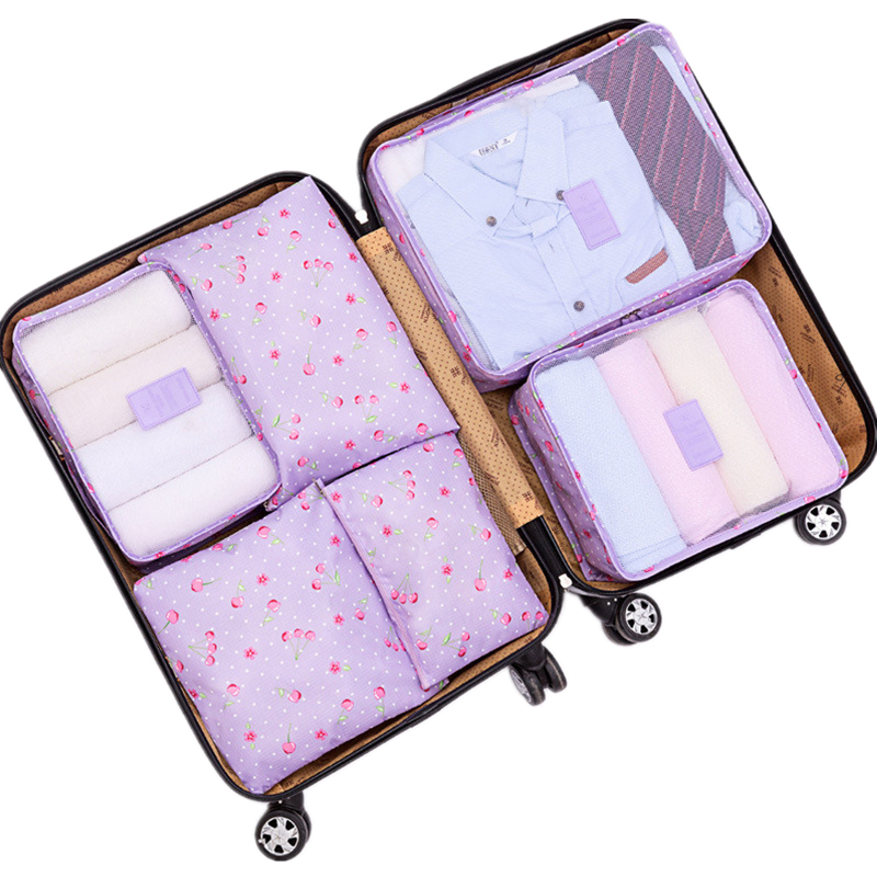 6pcs/Set Brand Travel Storage Bag Set For Clothes Tidy Organizer Pouch Suitcase Home Closet Divider container Organiser