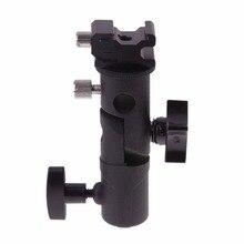 """Soporte Universal de Metal tipo E para zapata para Flash Speedlite, fijación con soporte para lámpara con adaptador giratorio de montaje de tornillo de 1/4 """"a 3/8"""""""