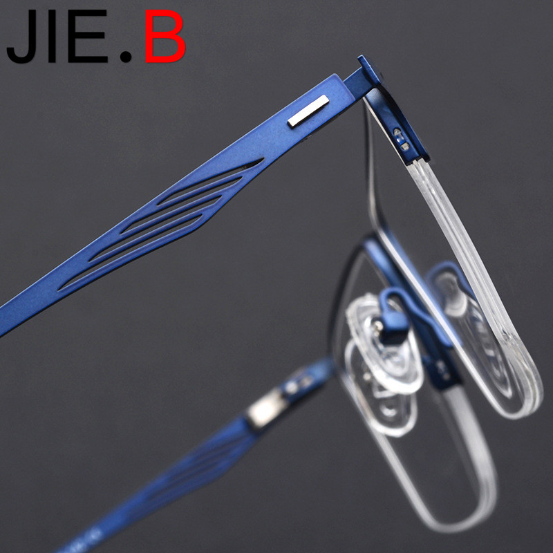 New non screw special hinge half frame square glasses frame ultra light business glasses frame titanium alloy men 39 s flat mirror in Men 39 s Eyewear Frames from Apparel Accessories
